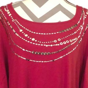 new directions Tops - NEW DIRECTIONS Cranberry Red Flutter Sleeve Blouse